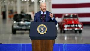 フォードで演説するバイデン大統領