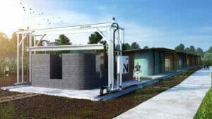 3Dプリンターで住宅を作るイメージ
